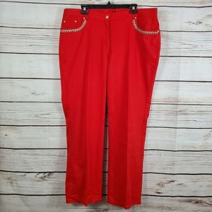 Ruby Rd. | Studded Red Pleated Jeans